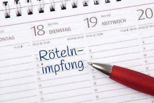 Röteln-Impfung Eintrag im Kalender