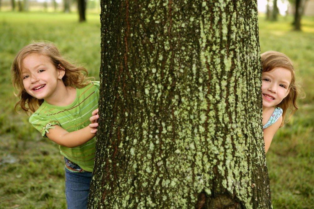 Zwillinge schauen hinter einem Baum hervor