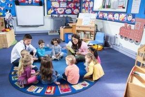 Kinder sitzen im morgenkreis