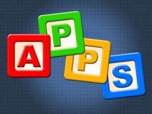 vier buchstaben die das wort apps darstellen