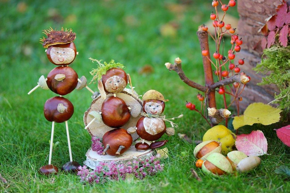 Basteln mit Kastanien - Kastanienfamilie