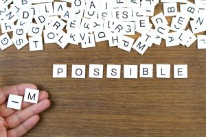 Aus der Unmöglichkeit wird eine Möglichkeit in Buchstabenform angelegt