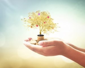 Hände halten einen kleinen goldenen Baum
