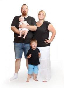 Übergewichtige Eltern mit übergewichtigen Kindern