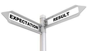 Schild von zwei Pfeilen in Richtung Erwartungen und Ergebnis