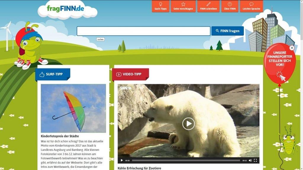 Screenshot der Website fragFinn