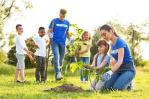 zwei freiwillige pflanzen mit kindern baeume