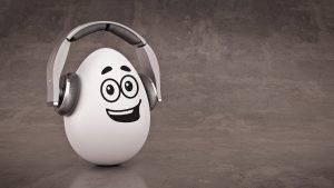 grinsendes Ei mit Kopfhörern
