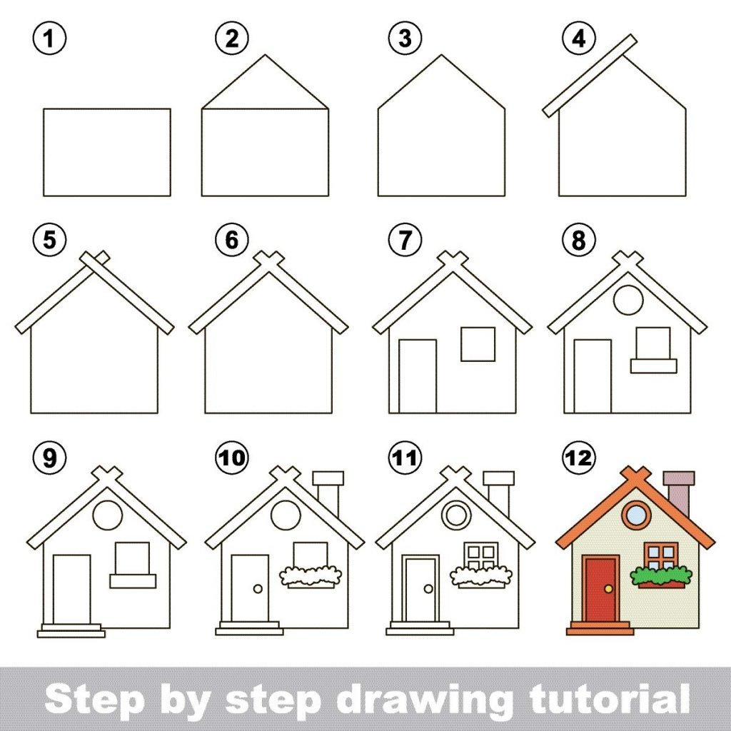 Zeichnen lernen für Kinder mit einer Anleitung zum Zeichnen eines Hauses