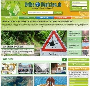 Screenshot der Website Helles Köpfchen