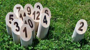 Halzspiel mit Zahlen auf dem Gras