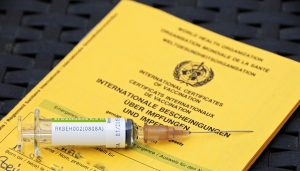 gelber Impfpass mit einer Spritze