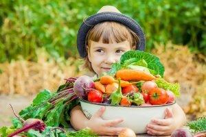 ein kind traegt einen korb mit obst und gemuese