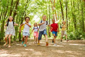 kinder laufen zusammen durch einen laubwald