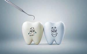 gesunder Zahn und ungesunder Zahn