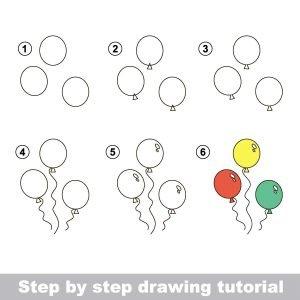 Zeichnen lernen für Kinder mit einer Anleitung für luftballons