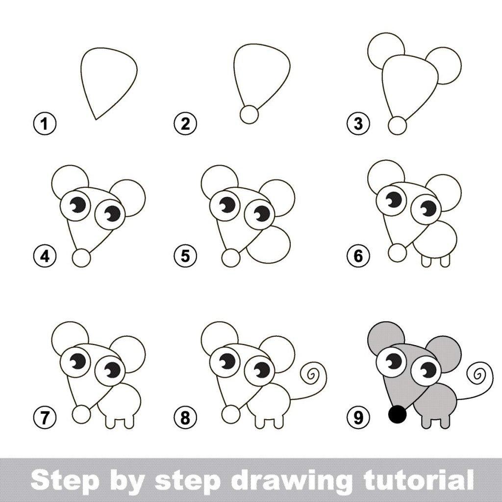 Zeichnen lernen für Kinder mit einer Anleitung zum Zeichnen einer Maus