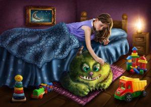 Mädchen streichelt ein Monster unter dem Bett