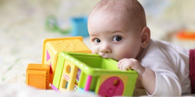 Kind in oraler Phase nuckelt an Spielzeug
