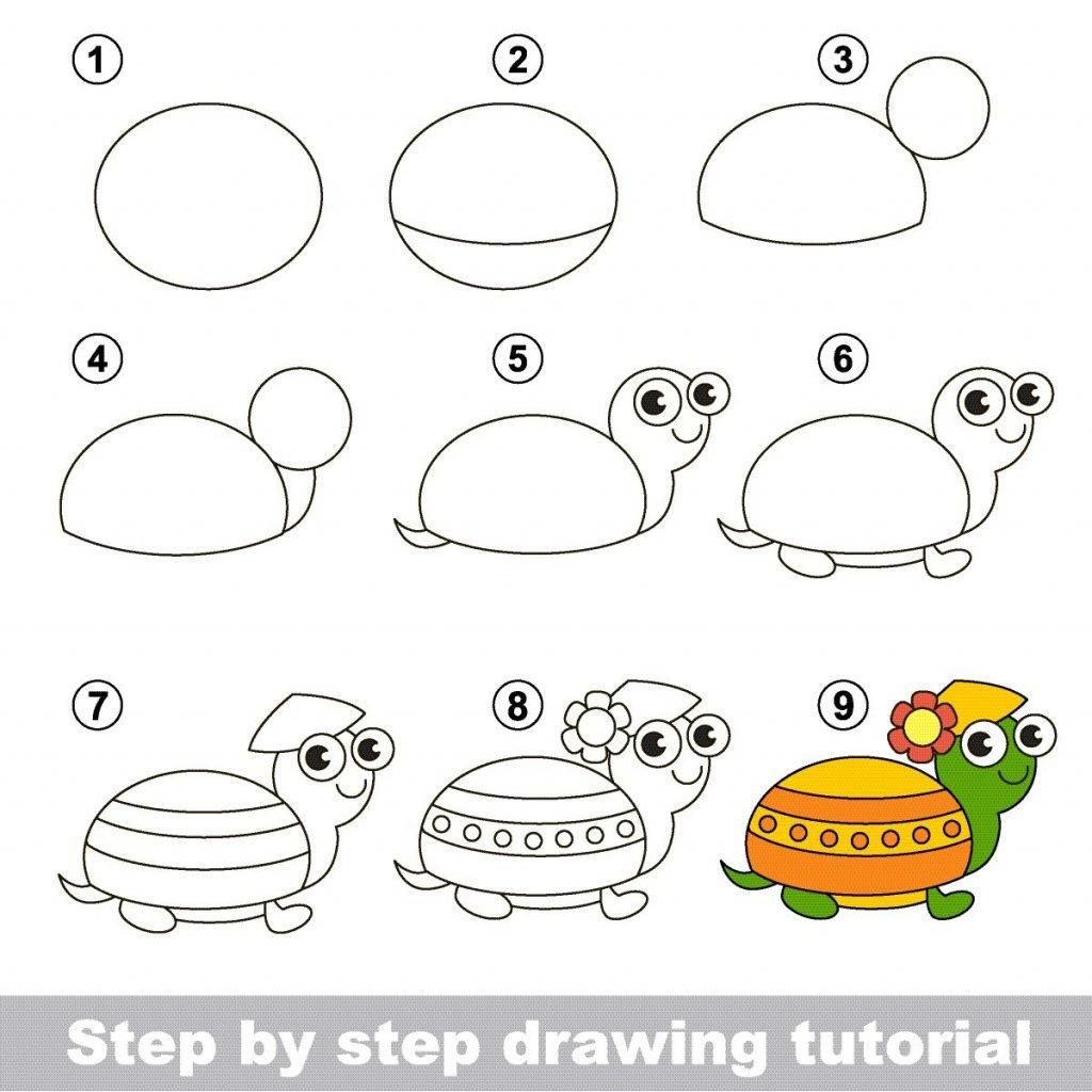 Zeichnen lernen für Kinder mit einer Anleitung zum Zeichnen einer Schildkröte