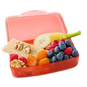 eine snackbox mit verschiedenem obst fuer kinder