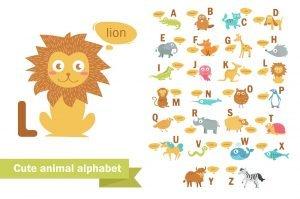 englisches alphabet mit tieren