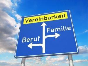 Verkehrsschild mit Vereinbarkeit von Familie und Beruf