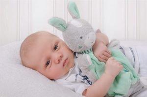 baby drueckt sein kuscheltier