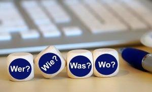 W-Fragen auf Würfeln